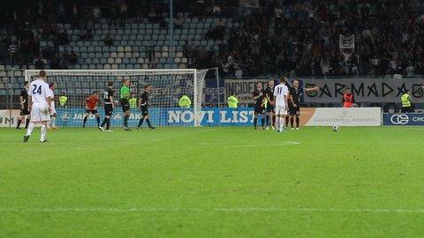 "RIJEKA, CROATIA - SEPTEMBER 2: Soccer match between ""NK Rijeka"" and ""NK Lokomotiva"" - First Croatian Football League (final score: 1-0 for ""NK Rijeka"") on September 2, 2012 in Rijeka, Croatia."