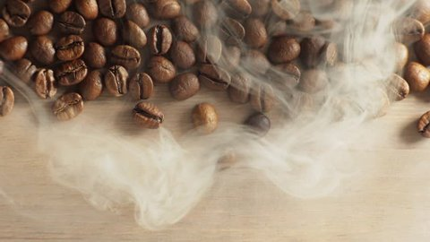 coffee beans with smoke background