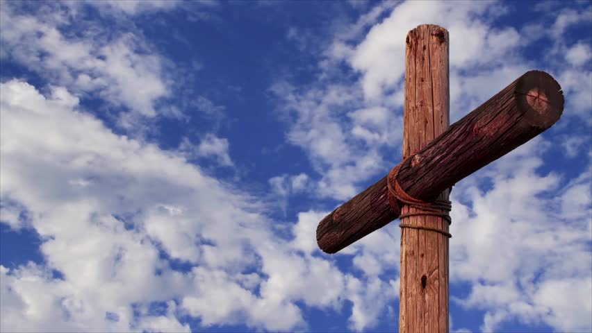 Stock Video Of Old Rugged Wooden Cross With Time