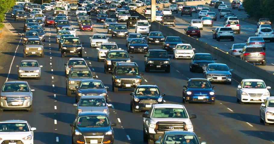Traffic jam and congestion during rush hour on California Freeway in Los Angeles, 4K