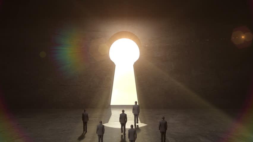 Businessman walking through shape of Keyhole. black wall. | Shutterstock HD Video #20765407