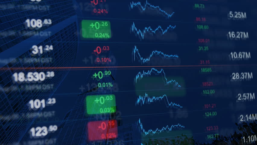 Financial background, finance, financial markets, business concept pattern. Stock exchange board at background of financial buildings. Blue background for market news, business and financial themes. | Shutterstock HD Video #20769229