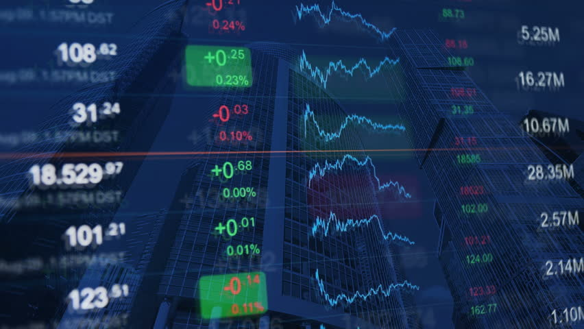 Financial video background: numbers and chart at background of financial buildings. Blue background for market news, business, financial themes. | Shutterstock HD Video #20769247
