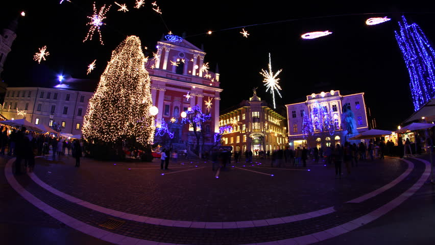 Timelapse of life in city in time of christmas. Recorded with fisheye. Location Ljubljana centre. HD1080p.