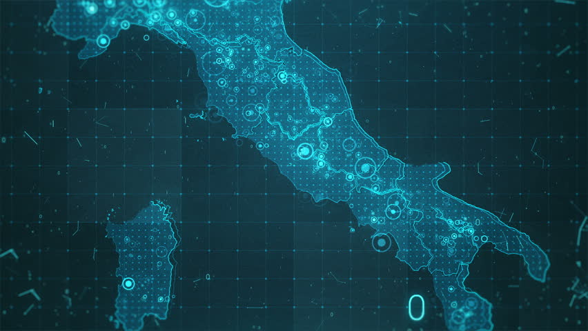 Italy Map Background Cities Connections. This project includes a map of the Italy with the animated background. There are animated glowing round connections in different cities on the map.