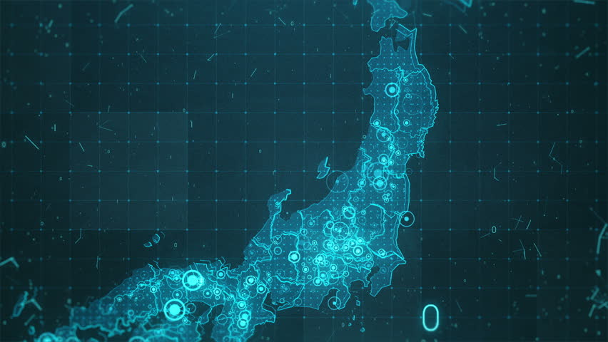 Japan Map Background Cities Connections. This project includes a map of the Japan with the animated background. There are animated glowing round connections in different cities on the map.  | Shutterstock HD Video #20848837