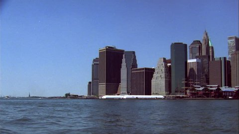 day right along New York skyline seen from Brooklyn, features South street seaport Pier 17 World Trade Center