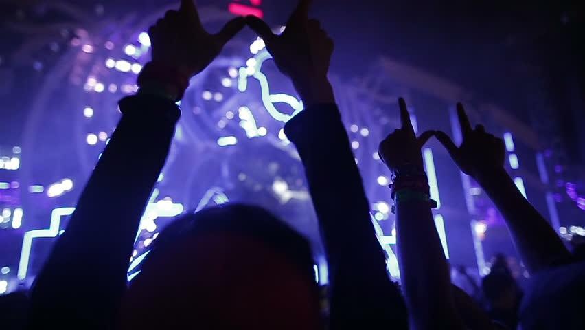 Music Festival. Euphoric crowd at music concert dancing | Shutterstock HD Video #20854447