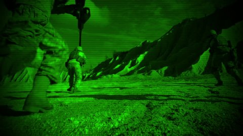 Looking through Night Vision Glasses how Group of Soldiers Running During Night Military Operation. Shot in 4K (UHD).