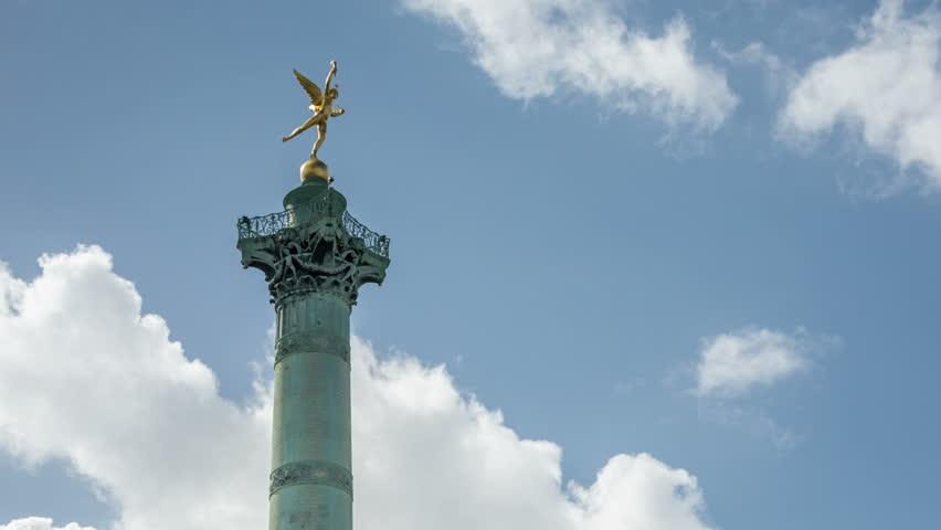Paris. Place de la Bastille. July Column with Spirit of Freedom statue on the top | Shutterstock HD Video #20867257