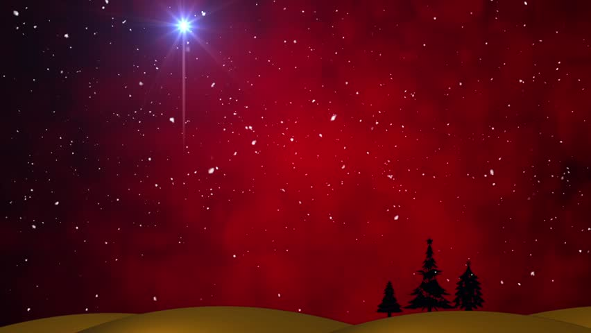 Christmas Star Over a Red Stock Footage Video (100%