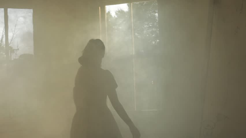 VIRGINIA - SUMMER 2016 - Reenactment, Recreation -- Ghostly, undead woman in smoky room in haunted house.  Paranormal, poltergeist.  Mystery woman with pale pallor, 19th century clothing in dank room   Shutterstock HD Video #20937277