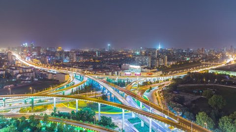 Time Lapse Aerial View Chinese Nanjing Busiest Highway at night, Freeway, Motorway, Busy Urban City Transportation Interchange