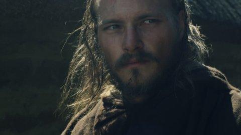 Portrait of Medieval Male Warrior. Medieval Reenactment. Shot on RED Cinema Camera in 4K (UHD).