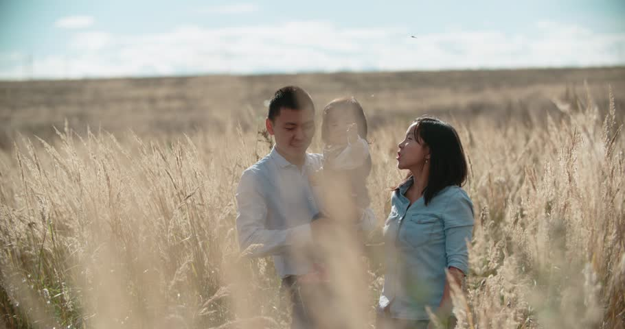 4K young Asian family in a field with a baby 1 year on hand, the concept of marital happiness and motherhood, sunset, slow motion