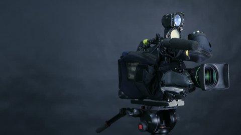 Studio broadcasting camera. Slider shot.