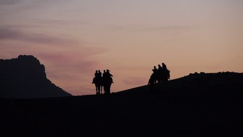 Camel tour arrive at dusk to a Berber camp - Morocco - silhouettes