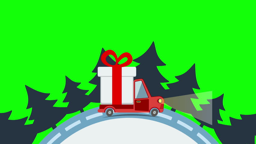 Colorful animation of christmas and new year greeting card with gift delivery flat transport truck van with gift box pack in xmas eve delivery service m4hsunfo Gallery