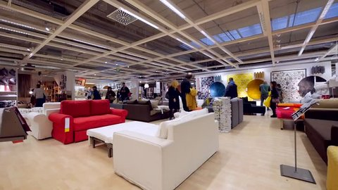 BOLOGNA, ITALY - CIRCA NOVEMBER, 2016: Interior view inside IKEA store. IKEA is the world's largest furniture retailer.