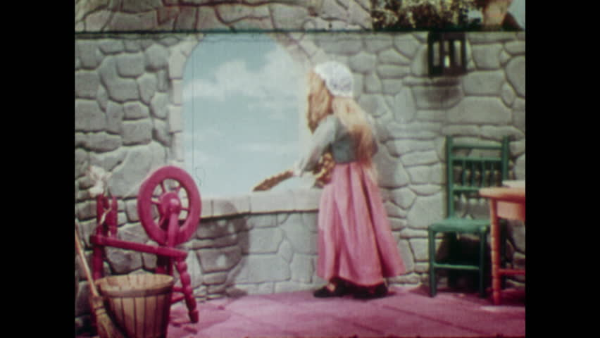 ANIMATED 1950s: Rapunzel throws down her hair so boy can climb up to the tower. Young man climbs up Rapunzel's hair.
