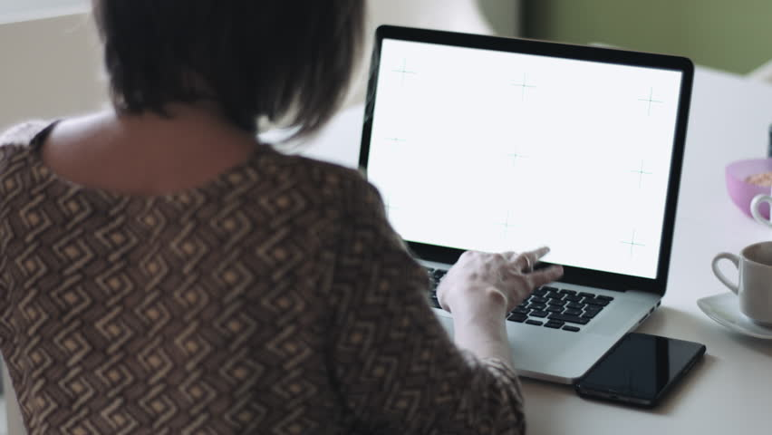 Back view of unrecognizable woman sitting at desktop and typing on laptop in light modern room. | Shutterstock HD Video #21086737