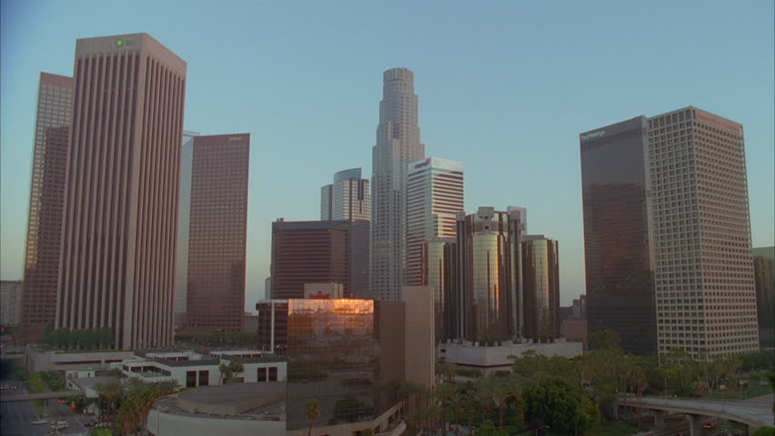 Day Sunset Close downtown Los Angeles skyline, sun bldgs. | Shutterstock HD Video #21113767