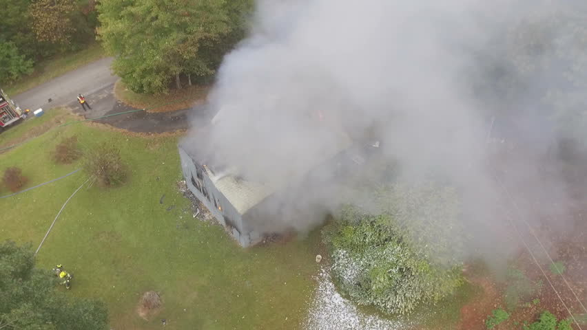 Aerial view of working structure fire | Shutterstock HD Video #21115507