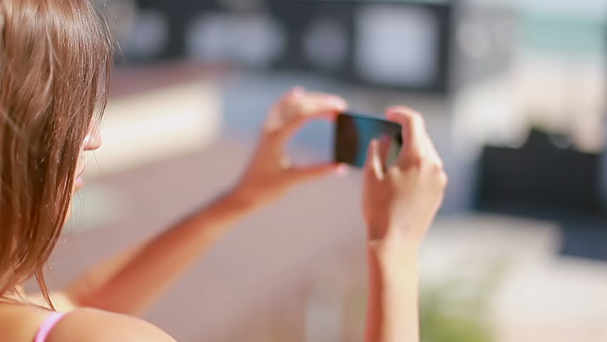 closeup lady the summer landscape on smart phone hd stock footage clip