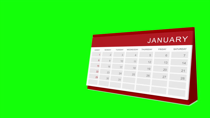Calendar  Loop, green screen (4K, year 2017)