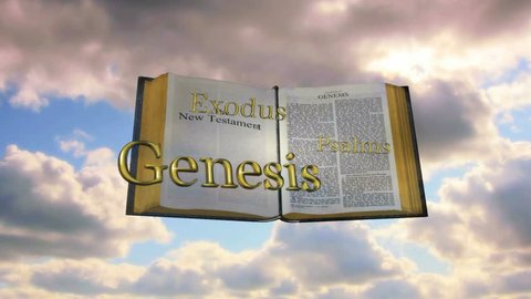 Christian Bible emerging from clouds to reveal books of the bible