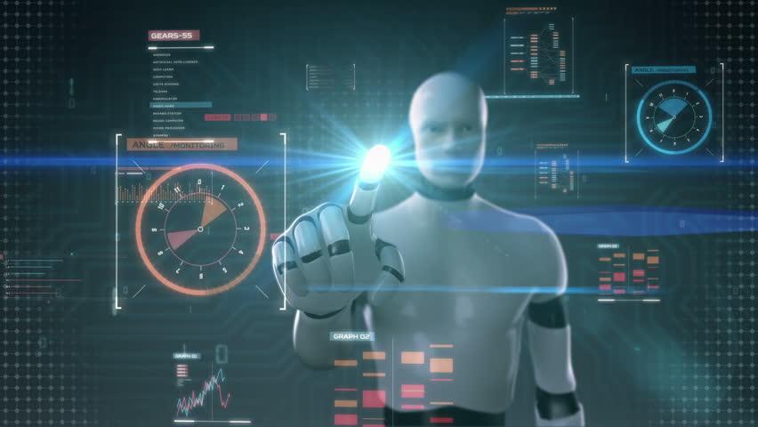 Robot cyborg touching user interface, digital display, grow artificial intelligence   Shutterstock HD Video #21200572