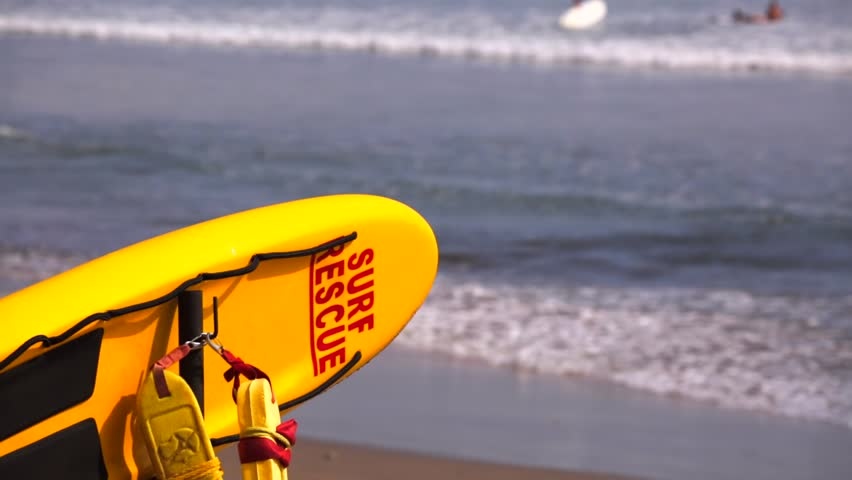 Rescue Surfboard On The Hawaii Beach. White Surf Rescue