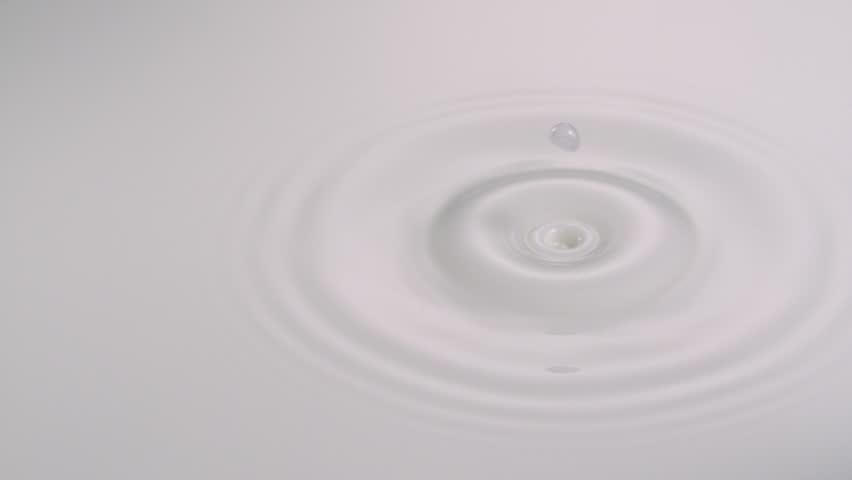 Slo-mo water drop int milk