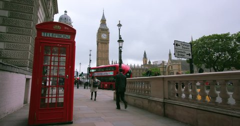 UNITED KINGDOM, LONDON - SEPTEMBER 2016: Red Telephone Box & Big Ben; London England