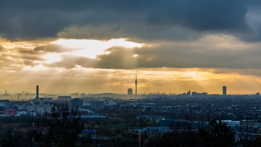 Munich Skyline at sunset, Time lapse video of City munich during sunset Cityscape.