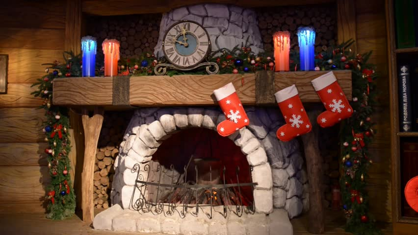 Fireplace Santa Claus With A Stock Footage Video 100 Royalty Free