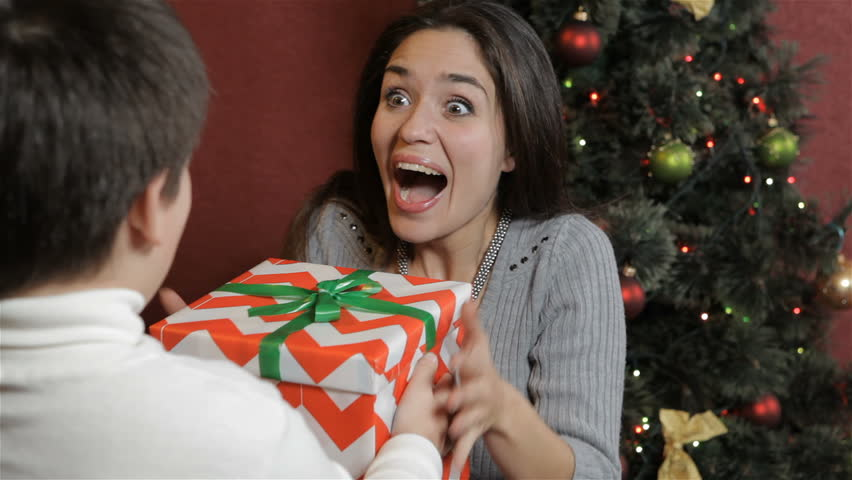 Mother Christmas.Young Mother Getting Christmas Gift Stock Footage Video 100 Royalty Free 21248797 Shutterstock