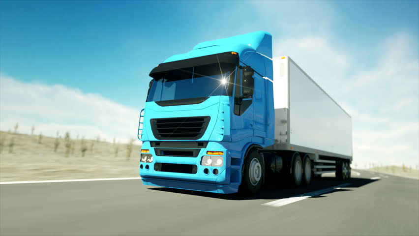 Truck on the road, highway. Transports, logistics concept. super realistic animation with physiks motion. #21258967