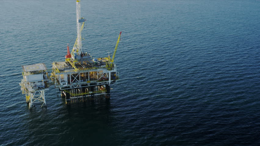 Aerial view of deep water oil production platform, America, USA