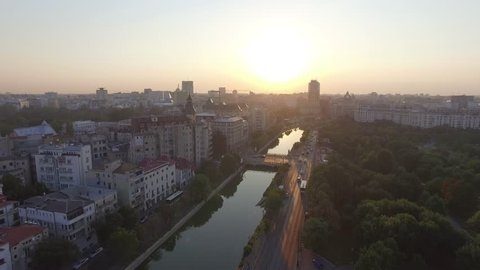 4K Aerial Cityscape Shot Of Bucharest At Dawn, Romania