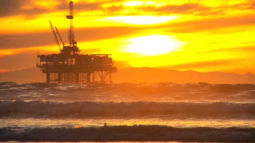 Deep sea oil drilling platform