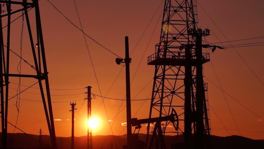 Oil Derrick mechanism in the sunset | Shutterstock HD Video #2128427