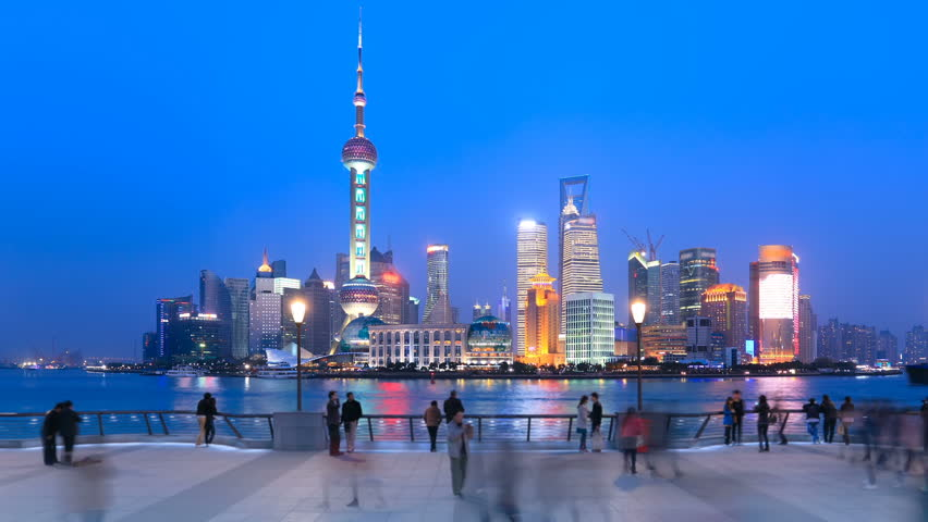 Shanghai Pudong viewed from the Bund, China. Timelapse(Zoom In).