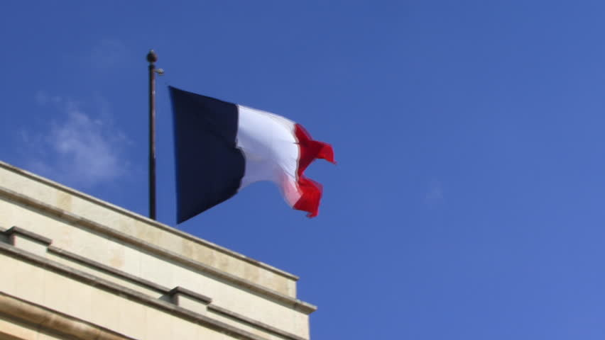 LONG SHOT, Flag of France in wind
