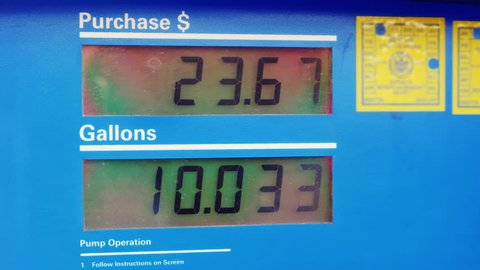 Dressed gasoline. Display shows the amount of fuel in gallons and price in dollars