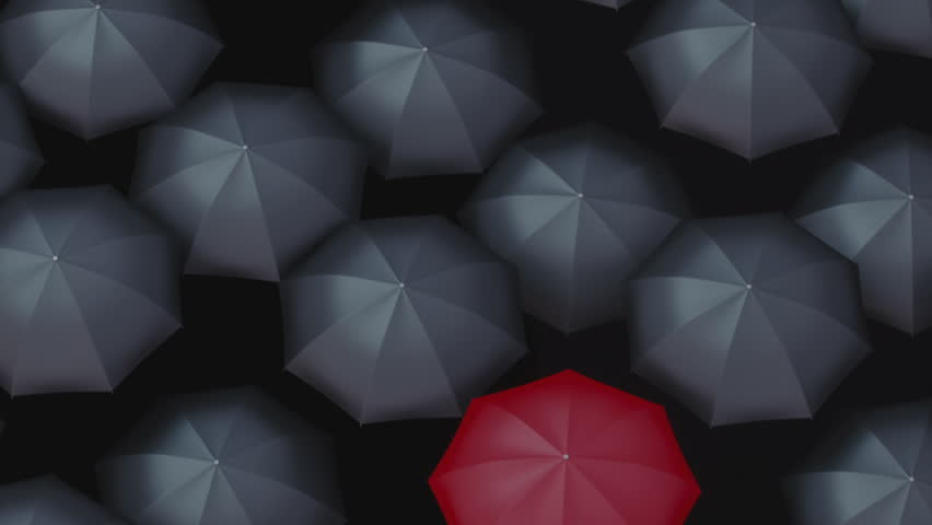 Red umbrella among black umbrellas. Standing out from the crowd, business, leader and being different concepts.