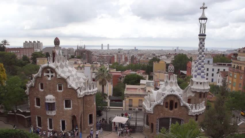 BARCELONA, SPAIN - JULY 3, 2016: Park Guell in Barcelona. Park Guell (1914) is the famous architectural town art designed by Antoni Gaudi. | Shutterstock HD Video #21341767