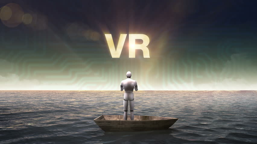 Rising typo 'VR', front of Robot, cyborg on a ship, in the ocean, sea.
