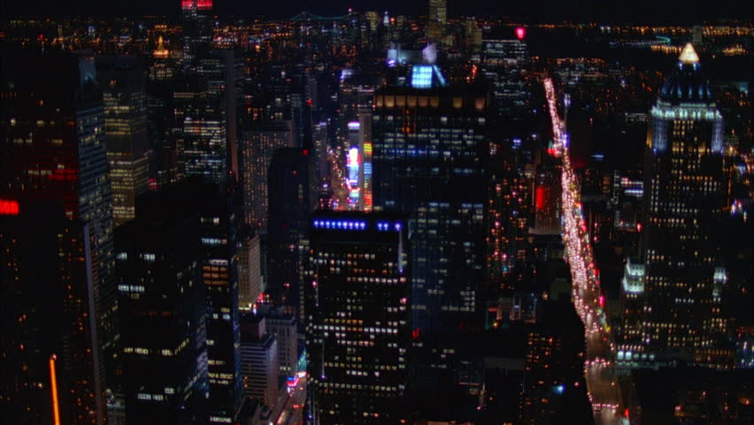 Night Aerial Over New York City, busy boulevard | Shutterstock HD Video #21356317
