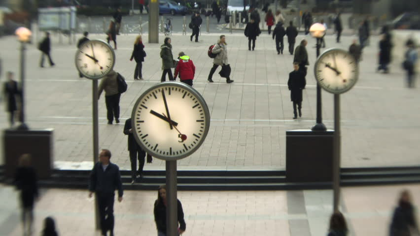 MEDIUM SHOT, Time lapse, People walking in Canary Wharf, London, England
